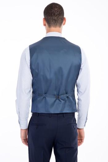 Erkek Giyim - Slim Fit Yelekli Kombinli Takım Elbise