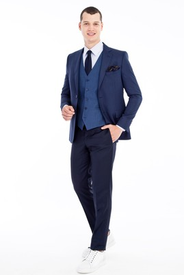 Erkek Giyim - Mavi 50 Beden Regular Fit Yelekli Kombinli Kuşgözü Takım Elbise