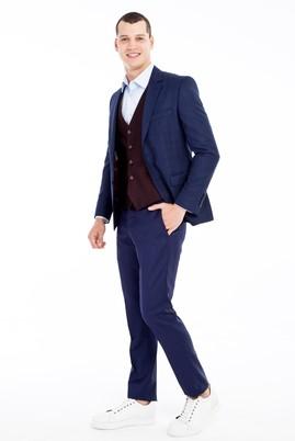 Erkek Giyim - KOYU MAVİ 46 Beden Slim Fit Yelekli Kombinli Ekose Takım Elbise