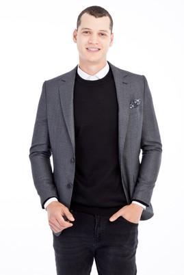Erkek Giyim - Füme Gri 52 Beden Slim Fit Ekose Ceket