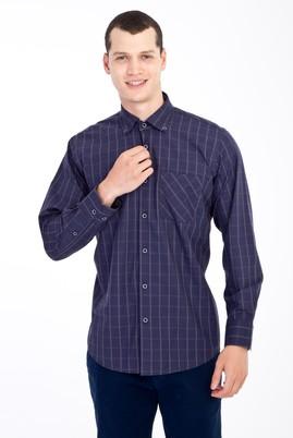 Erkek Giyim - Lacivert S Beden Uzun Kol Flanel Gömlek