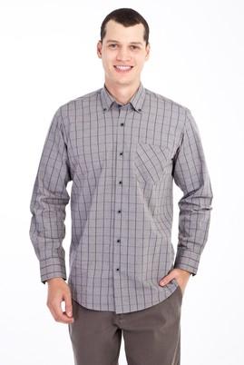 Erkek Giyim - Açık Gri XXL Beden Uzun Kol Oduncu Gömlek