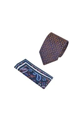 Erkek Giyim - Lacivert  Beden 2'li Kravat Mendil Set