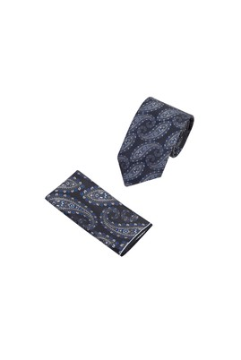 Erkek Giyim - Siyah  Beden 2'li Kravat Mendil Set