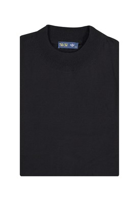 Erkek Giyim - Siyah 4X Beden King Size Bato Yaka Triko Kazak