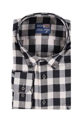 Erkek Giyim - Krem 7X Beden King Size Ekose Gömlek