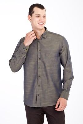 Erkek Giyim - YAG YESILI-OLIV XL Beden Uzun Kol Desenli Klasik Gömlek