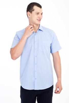 Erkek Giyim - Mavi L Beden Kısa Kol Çizgili Klasik Gömlek