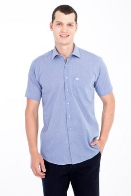 Erkek Giyim - Lacivert L Beden Kısa Kol Kareli Klasik Gömlek