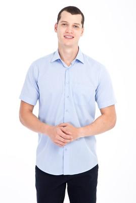Erkek Giyim - Açık Mavi 3X Beden Kısa Kol Kareli Klasik Gömlek