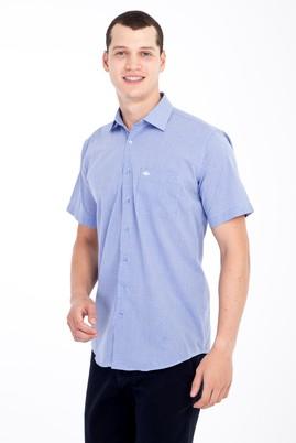 Erkek Giyim - Mavi L Beden Kısa Kol Kareli Klasik Gömlek