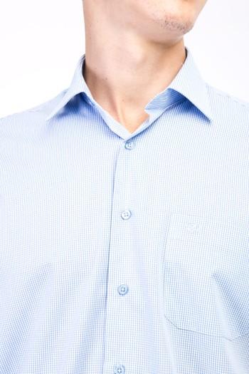 Erkek Giyim - Kısa Kol Kareli Klasik Gömlek