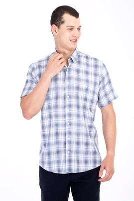 Erkek Giyim - Beyaz 3X Beden Kısa Kol Ekose Klasik Gömlek