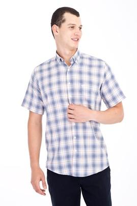Erkek Giyim - Beyaz M Beden Kısa Kol Regular Fit Ekose Gömlek