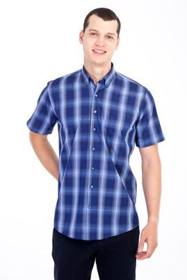 Erkek Giyim - Lacivert XXL Beden Kısa Kol Ekose Klasik Gömlek