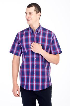 Erkek Giyim - Lacivert 3X Beden Kısa Kol Ekose Klasik Gömlek