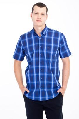 Erkek Giyim - Lacivert M Beden Kısa Kol Ekose Klasik Gömlek