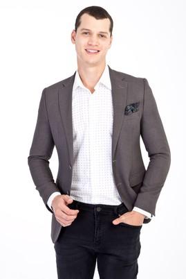 Erkek Giyim - Orta füme 46 Beden Slim Fit Desenli Ceket