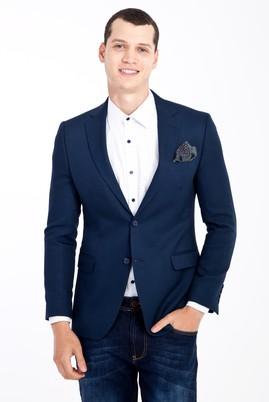 Erkek Giyim - Mavi 48 Beden Slim Fit Desenli Ceket