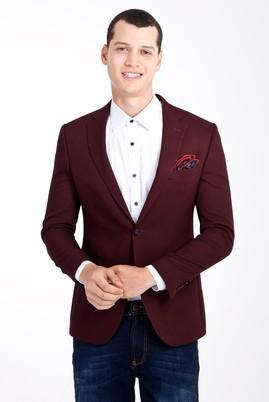 Erkek Giyim - Bordo 44 Beden Slim Fit Desenli Ceket