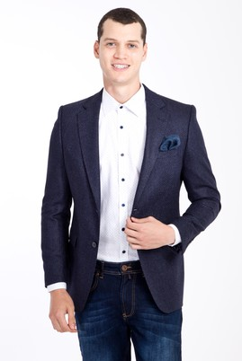 Erkek Giyim - Mavi 46 Beden Yünlü Kuşgözü Ceket