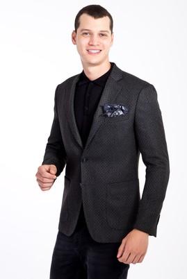 Erkek Giyim - Füme Gri 50 Beden Slim Fit Kuşgözü Ceket