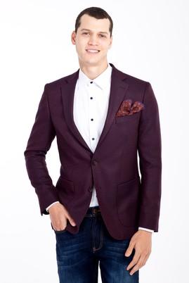 Erkek Giyim - Bordo 52 Beden Regular Fit Kuşgözü Ceket