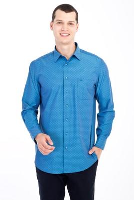 Erkek Giyim - Turkuaz M Beden Uzun Kol Desenli Klasik Gömlek
