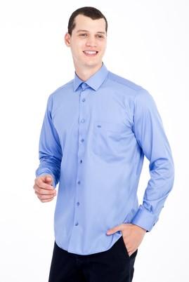 Erkek Giyim - Mavi M Beden Uzun Kol Non Iron Klasik Saten Gömlek