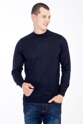 Erkek Giyim - Lacivert XL Beden Bato Yaka Yünlü Triko Kazak