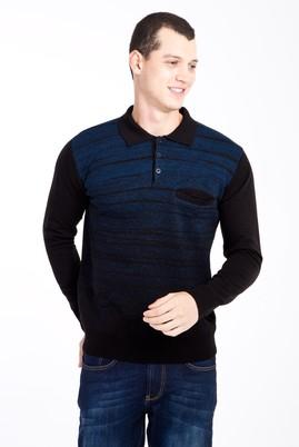 Erkek Giyim - Siyah M Beden Polo Yaka Desenli Triko