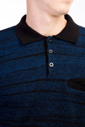 Erkek Giyim - Polo Yaka Desenli Triko Kazak