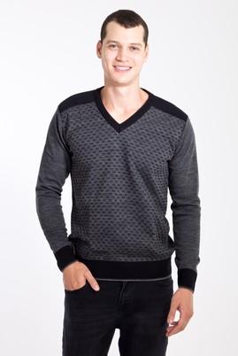 Erkek Giyim - Lacivert 3X Beden V Yaka Desenli Triko