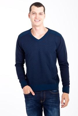 Erkek Giyim - Lacivert L Beden V Yaka Desenli Triko