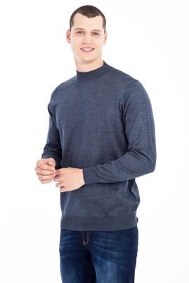 Erkek Giyim - Lacivert L Beden Bato Yaka Yünlü Triko Kazak