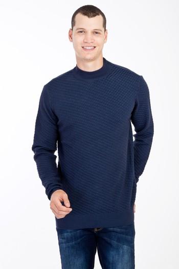Erkek Giyim - Bato Yaka Yünlü Desenli Regular Fit Triko Kazak