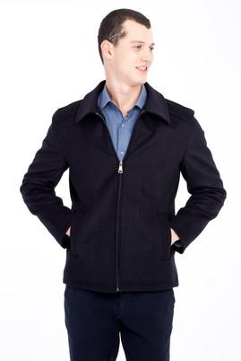 Erkek Giyim - Lacivert 48 Beden Klasik Yünlü Mont