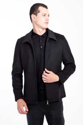 Erkek Giyim - Antrasit 48 Beden Klasik Yünlü Mont