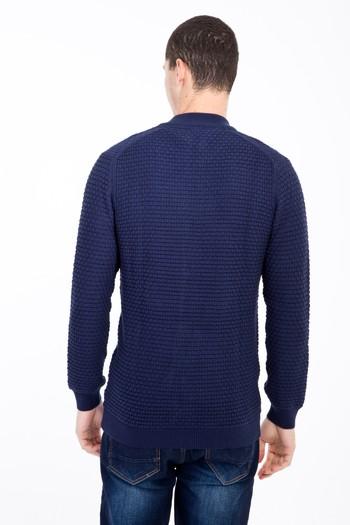 Erkek Giyim - Fermuarlı Desenli Hırka