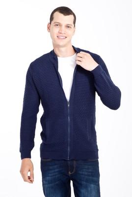 Erkek Giyim - Lacivert XL Beden Fermuarlı Desenli Hırka