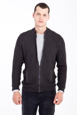 Erkek Giyim - Antrasit 3X Beden Fermuarlı Desenli Hırka