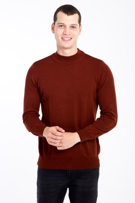 Erkek Giyim - KİREMİT XL Beden Bato Yaka Regular Fit Triko Kazak