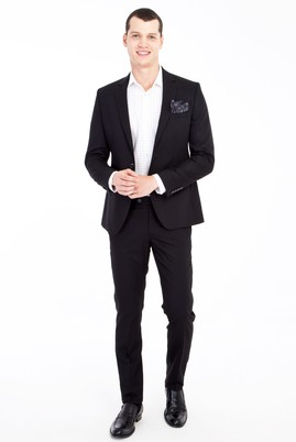 Erkek Giyim - Siyah 48 Beden Süper Slim Fit Takım Elbise