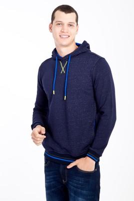 Erkek Giyim - Lacivert M Beden Kapüşonlu Slim Fit Sweatshirt