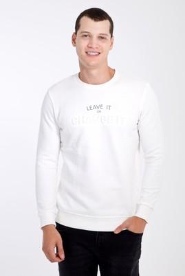Erkek Giyim - Krem L Beden Bisiklet Yaka Slim Fit Sweatshirt