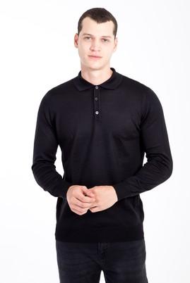 Erkek Giyim - Siyah 3X Beden Polo Yaka Triko Kazak
