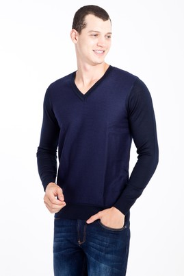Erkek Giyim - Lacivert 3X Beden V Yaka Yünlü Desenli Triko Kazak