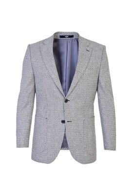 Erkek Giyim - Açık Gri 54 Beden Yünlü Desenli Ceket