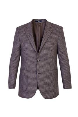 Erkek Giyim - Kahve 48 Beden Yünlü Desenli Ceket