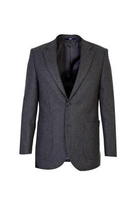 Erkek Giyim - Petrol 52 Beden Yünlü Desenli Ceket